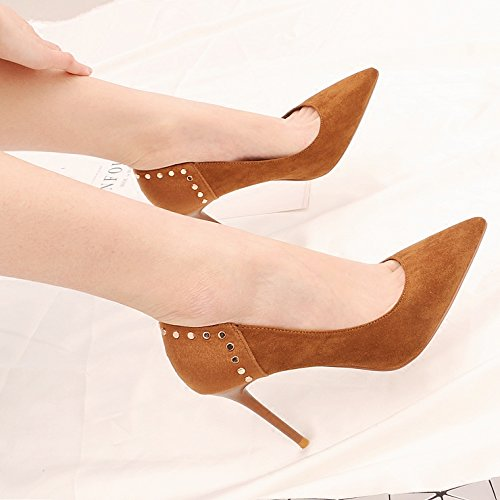 Light 9Cm The With Wild Shoes Girl Spring Khaki Tip Screw Khaki High Shoes Heeled Fine Willow KPHY Single q6R4wtn
