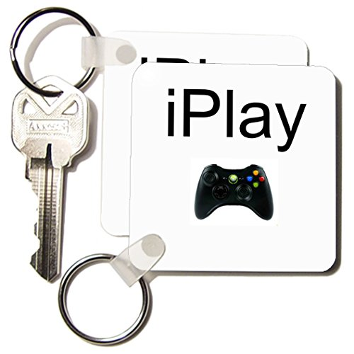 Xander gaming sayings - iPlay, black lettering on white background, picture of game controller - Key Chains - set of 2 Key Chains (kc_180064_1)