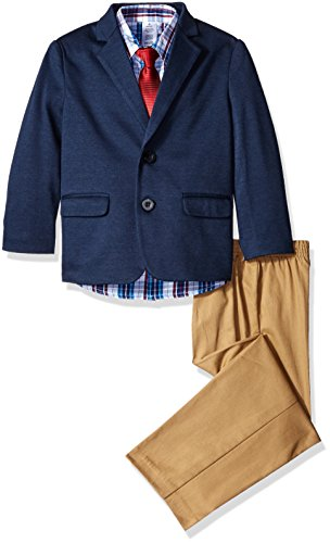 (Izod boys 4-Piece Suit Set with Dress Shirt, Tie, Pants, and Jacket, Navy/Red, 4T )