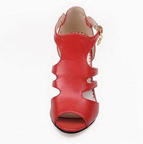 Vestir Gmxlb009128 Alto Rojo Sandalias Hebilla Pu Tacón Con Agoolar De Sólido Mujeres TFwxzvvqg