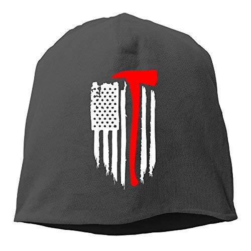 (OASCUVER American Flag Firefighter Women/Men Wool Hat Soft Stretch Beanies Skull Cap Unisex)