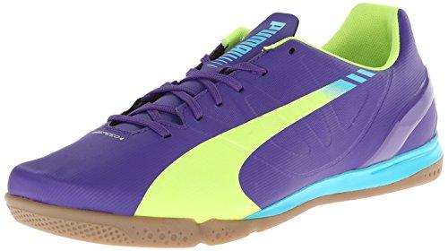 PUMA Men's Evospeed 4.3 Indoor Soccer Shoe,Prism Violet/Fluro Yellow/Scuba Blue,10 M US