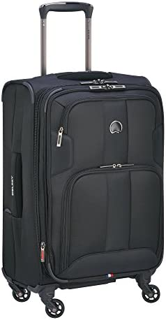 DELSEY Paris Sky Max 2.0 Softside Expandable Luggage with Spinner Wheels, Black, Carry-on 21 Inch,40328280500