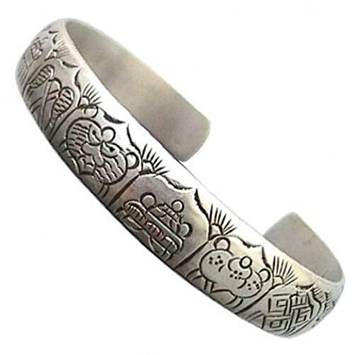 Delicately Carved Dragon - Long Solid Tibetan Delicately Carved 8 Auspicious Symbol Dragon Cuff Bracelet #ID-1134