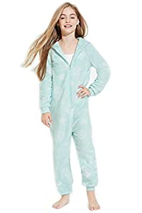 Girls Plush Green Snowflakes PJ Jumpsuit Onesies