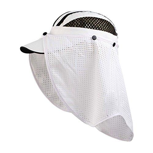 D-ring Flap (Juniper Taslon UV Cap with Flap, One Size, White/Black)