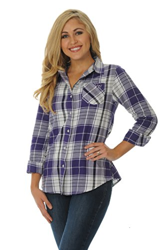 NCAA Kansas State Wildcats Women's Boyfriend Plaid Shirt, Small, Purple/Grey/White