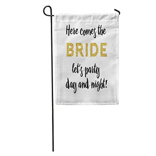 Semtomn Garden Flag Bachelorette Party Graphic Lettering Hen Here Comes The Bride Home Yard House Decor Barnner Outdoor Stand 28x40 Inches Flag