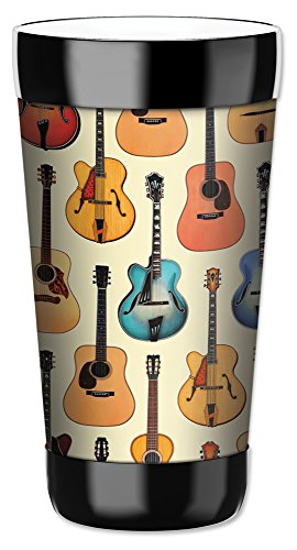 (Mugzie 16 Ounce Travel Mug/Drink Cup with Removable Insulated Wetsuit Cover - Acoustic Guitars)