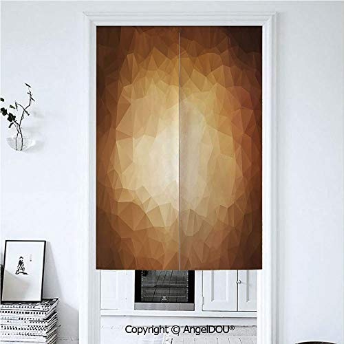 (AngelDOU Tan Doorway Kitchen Cafe Half Tube Curtain Abstract Triangles in Mosaic Form Modern Geometrical Artistic Retro Graphic for Home Party Decoration. 33.5x59 inches)