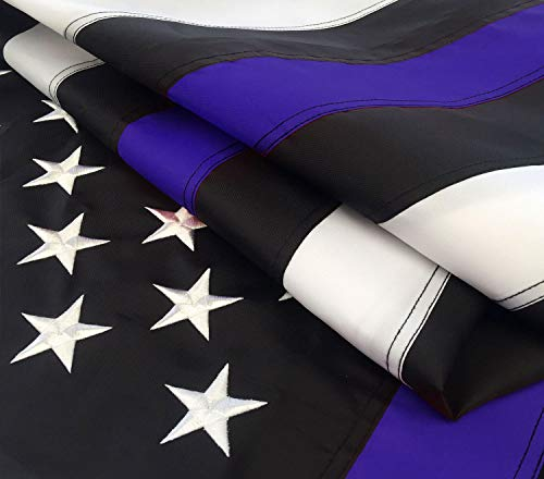 Thick Blue Line Flag 3x5 ft with Embroidered Stars - Sewn Stripes - Brass Grommets - UV Protection - American Police Flag Black White and Blue (3 by 5 Foot (300D))