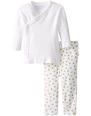 Essentials Solid Kimono Top + Footless Pant Set, 100% Organic Cotton
