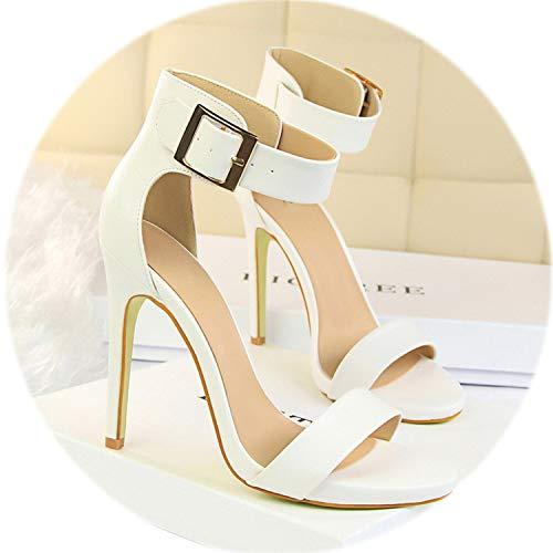 AMAZING AMAZING 8 Colors Peep Toe Concise Women Sandals 2019 Metal Belt Buckle High Heels Shoes,White,5