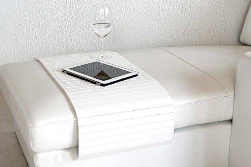 Moebelhome Sofatablett Holz Gross 80cm Ablage Tablett Weiss Fur