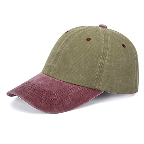 ZOMOY Unisex Classic Washed Dyed Cotton Baseball Cap Two Tone Low Profile Six Panel Adjustable Vintage Hat (Army Green+Red) (Hat Tone Baseball Two)
