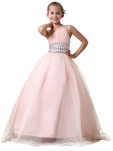 Girls' Crystal Chiffon Long Pageant Dresses Birthday Party Gowns A-line Pink US 10