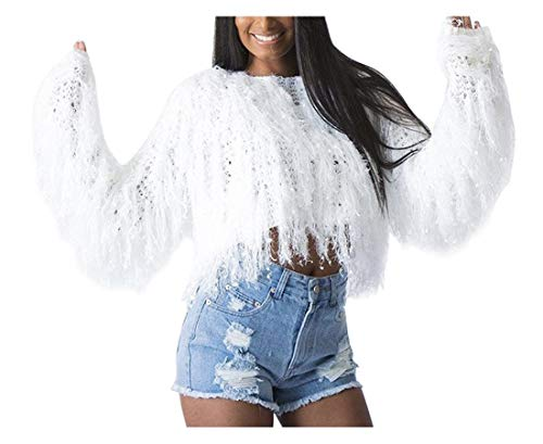 (Winter Oversized Sweaters for Women - Batwing Sleeve Tassel Pullover Knit Pullover Sweaters Shirts Tunic Blouse Crop Top White, X-Large)