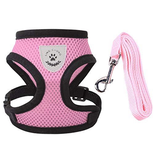 Meeyou Little Pet Adjustable Mesh Harness with Leash(M,Pink)