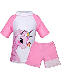 Toddler Girls Unicorn Short Sleeve Swimsuit Unicorn Kids Two Pieces Rash Guard Tankini Soft Swimwear (Pink(Short Sleeve), 5-7 Year)