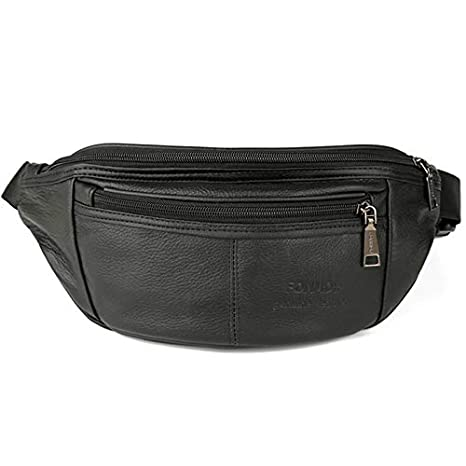 80939e64f190 Amazon.com: Moonnight Store Genuine Leather Men Waist Pack Fanny ...