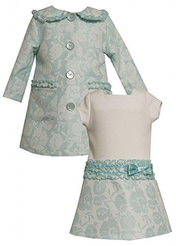 Bonnie Jean Baby Girls Infant Aqua-Blue Ivory Ruffle Jacquard Dress/Coat Set (24 Months, Aqua) (Jacquard Coat Dress)