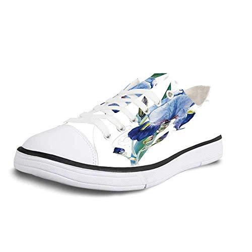 (Canvas Sneaker Low Top Shoes,Flower Shabby Chic Irises Bouquet Elegance Petals Botanic Beauty Florets Watercolor Art Decorative Man 12)
