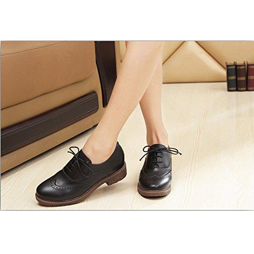 Classique Travail Jamron Brogue Chaussures Bureau Chunky Faible Noir Habillées Mode Cour De Oxfords Femmes Heel Bw15wx4q