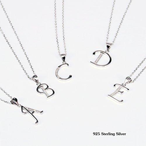 Sterline Alphabet D'argento Zirconia 925 Collana Bibeary A Valentine Amore E Elegant Letter Donna 4ZtqxRwY