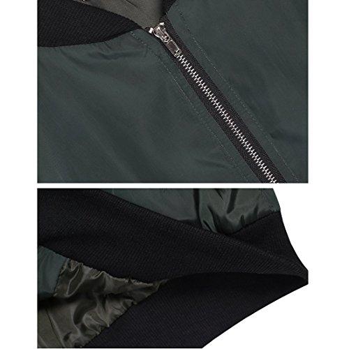 Blouson Femmes Zip Veste Minetom Coat Pilote Matelass Bomber Courte Classique Vert dn8qTqpY