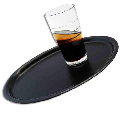 Serviertablett oval schwarz rutschfest - 2 Stück