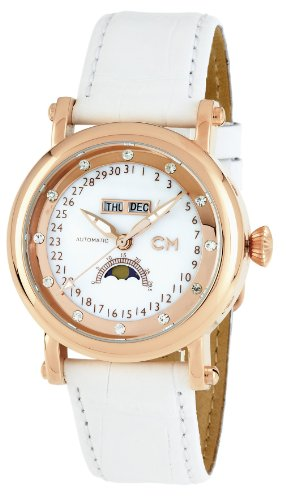Carlo Leather Monte Watch (Carlo Monti Women's 'Verona' Automatic Stainless Steel and Leather Dress Watch, Color:White (Model: CM110-386))