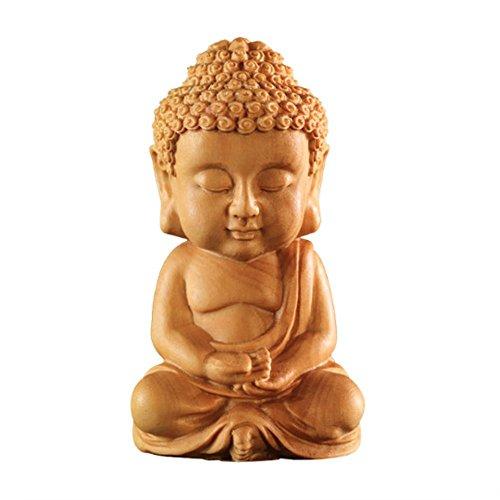EBISSY Hand Carved Small Cute Sitting Buddha Statue Wood [ Palm Size Home Decor ] (Sitting Buddha) ()