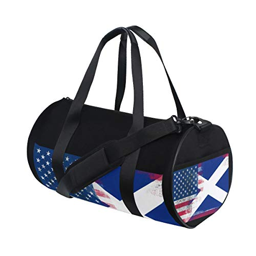 Sports Gym Bag with American Scotland Flag Print, Travel Weekender Duffle Bag for Men Women