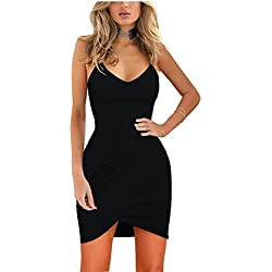 Zalalus Women's Bodycon Cocktail Party Dresses Deep V Neck Backless Spaghetti Straps Sexy Summer Short Casual Club Dress Above Knee Length Sleeveless Black Large