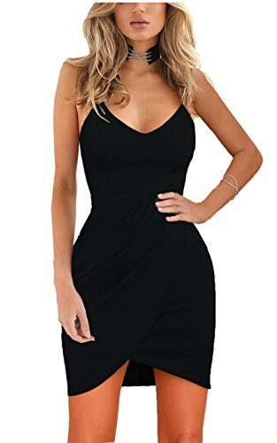 Zalalus Women's Bodycon Cocktail Party Dresses Deep V Neck Backless Spaghetti Straps Sexy Summer Short Casual Club Dress Above Knee Length Sleeveless Black Small (Dress Cocktail Women)