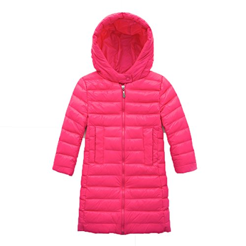Plain Hooded EkarLam® Outwear Kids Long Down Chic Jacket Zip Rosy Coat Children qxqRXU4