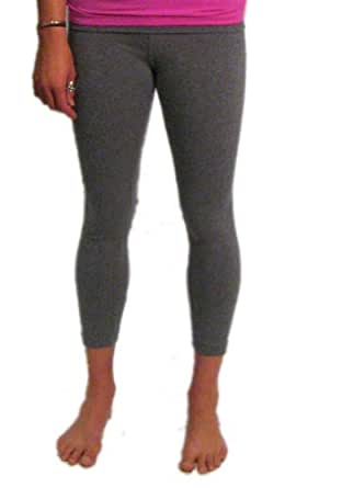 Roll Down Mid-Calf Yoga Legging by Hard Tail (Charcoal Grey, Small)