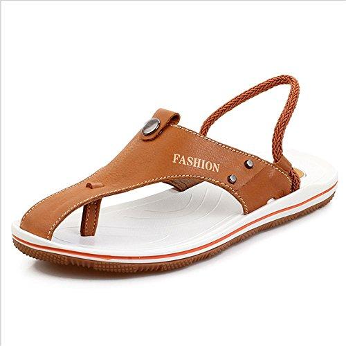Colore CM pantofole 0 Sport Bovina Sandali Pelle EU Wagsiyi Nero 24 Uomo 2 27 Dimensione spiaggia da Outdoor 3 42 Spiaggia Antiscivolo Sandali Marrone Da 0 Da Scarpe RZXanfq