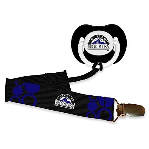 Colorado Rockies Black Pacifier and Pacifier Clip - MLB Baby Fanatic Combo Set