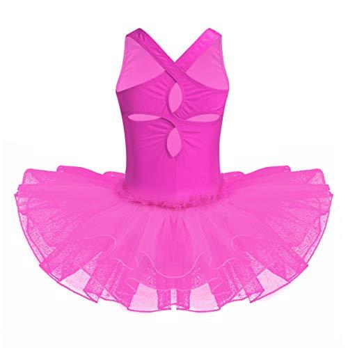 iEFiEL Kids Girls Spaghetti Straps Ballet Dance Tutu Dress Gymnastic Leotard Skater Skirt Rose Red Flower Petal 8-10