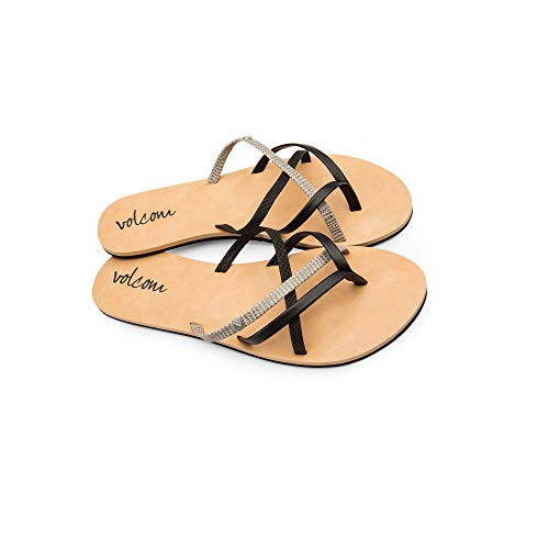 New Ladies Pretty Black Sandals - Volcom New School Womens Dress Sandal,Black Combo,5 US