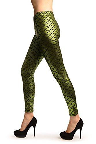 Green Shiny Mermaid Scales Leggings - Vert Leggings Taille Unique (34-38)