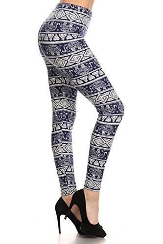 Leggings Depot Women's Ultra Soft Printed Fashion Leggings BAT10 (Elephant Mob, Plus Size (L-2X / Size 12-20))