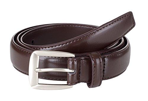 Sportoli Men's Genuine Leather Classic Stitched Casual Uniform Dress Belt - Brown/Matte Buckle (34)