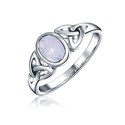 Bling Jewelry 925 Sterling Silver Celtic Triquetra Simulated Moonstone Knot Ring Multicolor 6