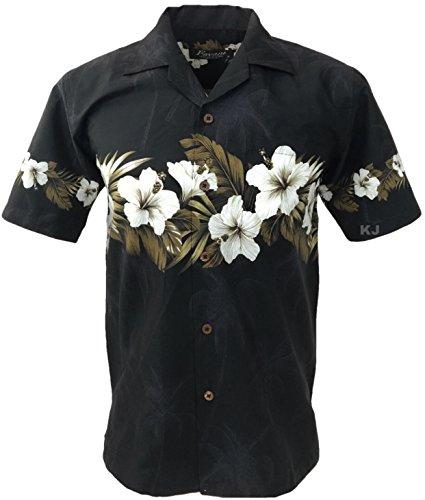 Favant Tropical Luau Beach Hibiscus Band Floral Print Men's Hawaiian Aloha Shirt (XX-Large, ()