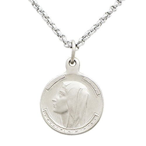 Rosemarie Collections Religious Pendant Necklace Our Lady of Lourdes Round Medal Imported from (Lourdes Collection)