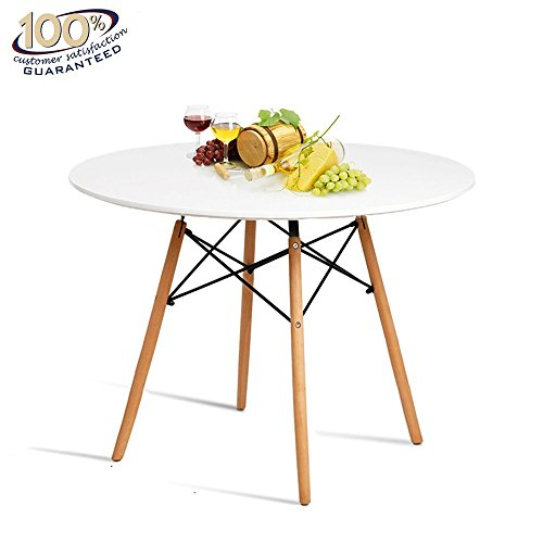 Kitchen Dining Table Round Coffee Table Modern Leisure Wood Tea Table Office Conference Pedestal Desk with Natural Wooden Legs and MDF top (White)
