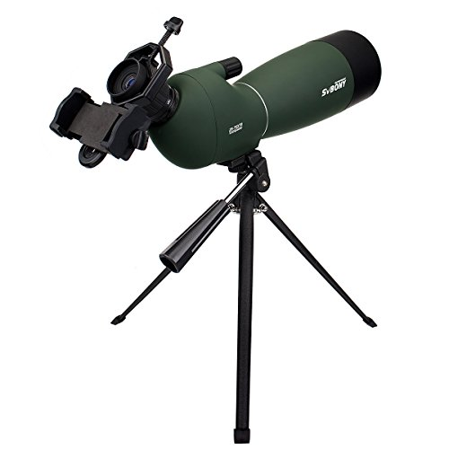 SVBONY Spotting Scope Telescope 25-75x70mm Bird Scopes for Shooting Birdwatching Scope in Shooting Range Bak4 Prism with Tabletop Tripod and Phone - Tripod Telescope Tabletop