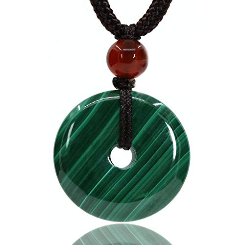 Jade Beautiful Purple Pendant (AMANDASTONES Natural Gemstones AA Grade Malachite Peace Donut 20M Beads Adjustable Braided Macrame Tassels Pendant Unisex)